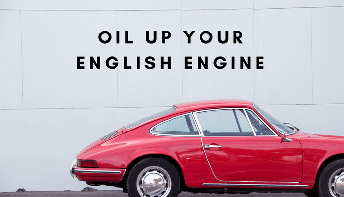 Shiny red car, oil up your English engine