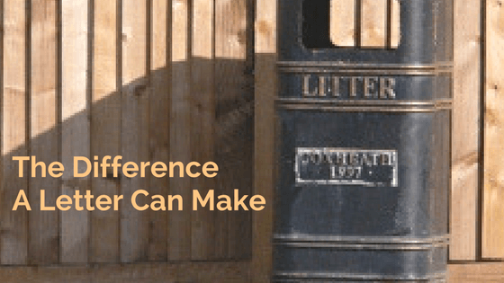 """A litter bin next to the text """"The difference a letter can make"""""""