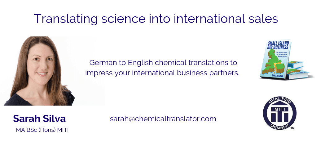 German to English chemical translations for international sales. Sarah Silva