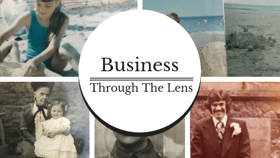 Old family photographs of holidays and special occasions. Circle like camera lens reads Business Through the Lens