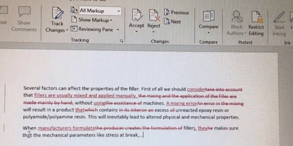 screenshot of edited text using tracked changes in Word