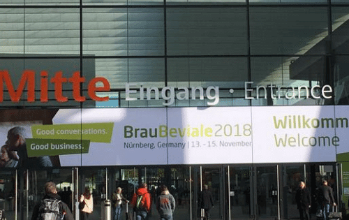 The entrance to the BrauBeviale trade show 2018