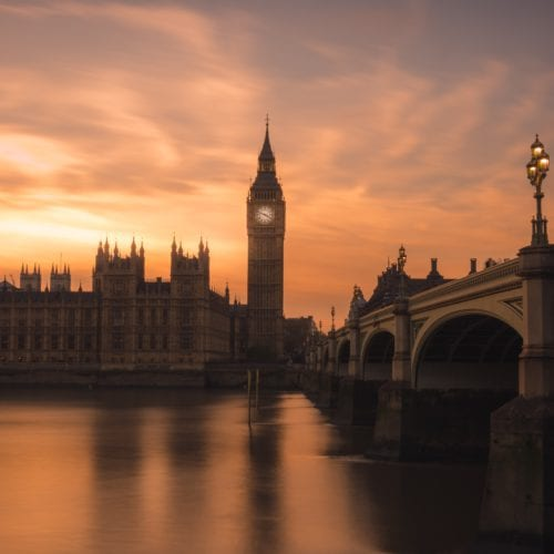 Big Ben and the Thames at sunset to reflect the sun setting on the UK-EU relationship with Brexit
