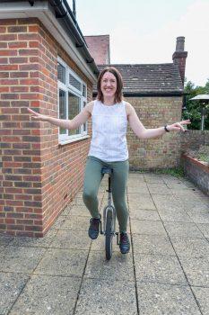 Sarah Silva on a unicycle